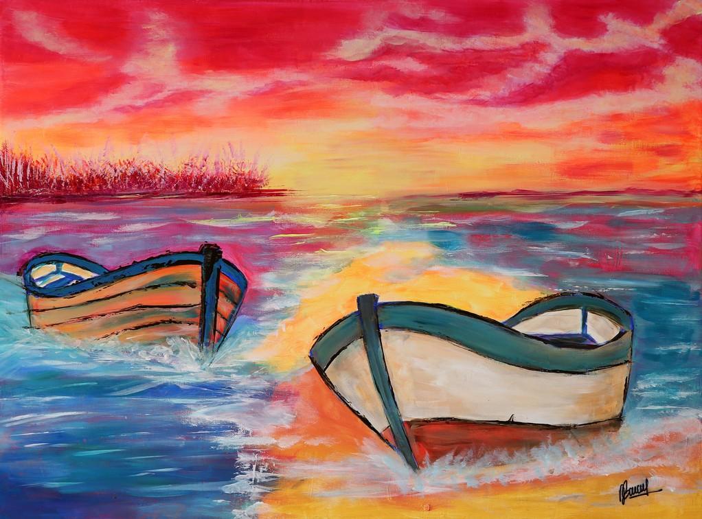 Les barques - 46x61cm - toile lin