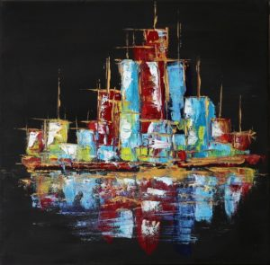 Little Manhattan by night - 30x30cm