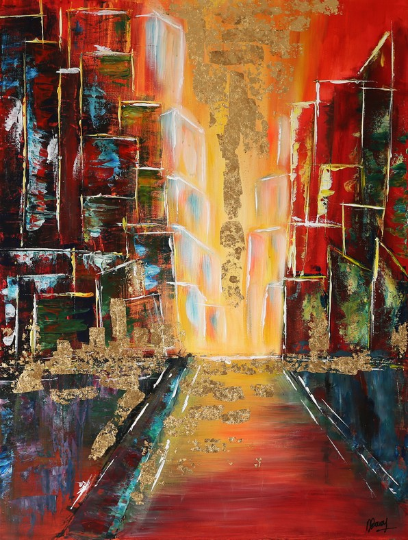 Golden rain on the red street - 50x70cm