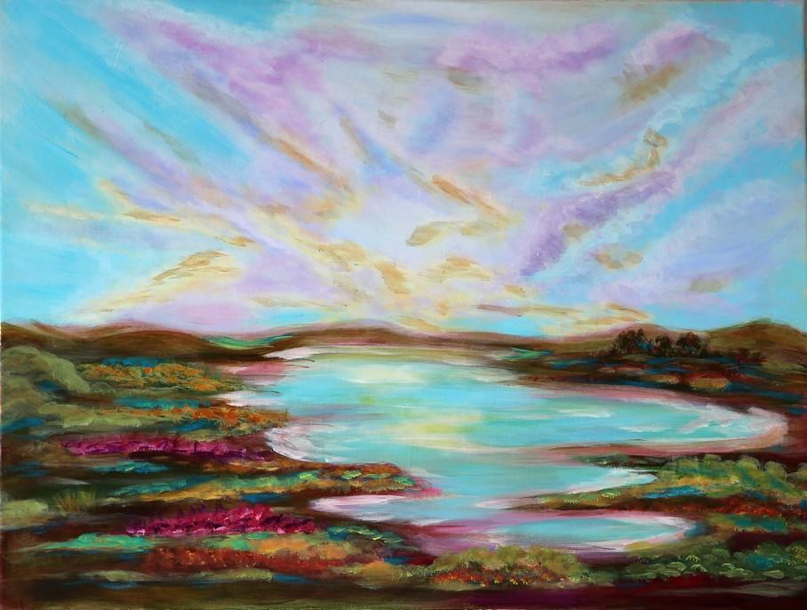 Le lac dans les bruyères - 46x61cm - toile lin