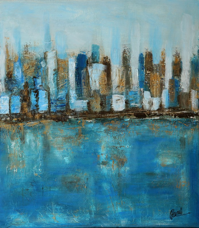 Far away blue city - 46x55cm