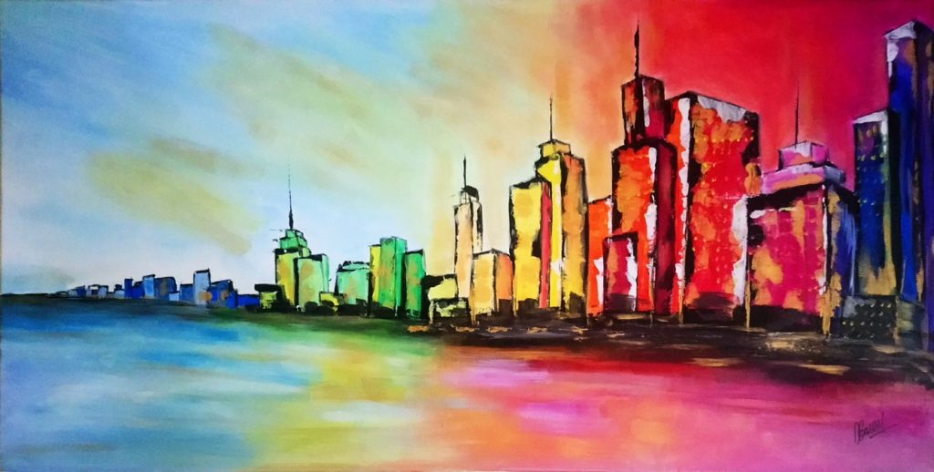 Rainbow light in the city - 40x80cm