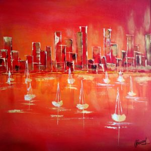 Orange sanguine city- 40x40cm