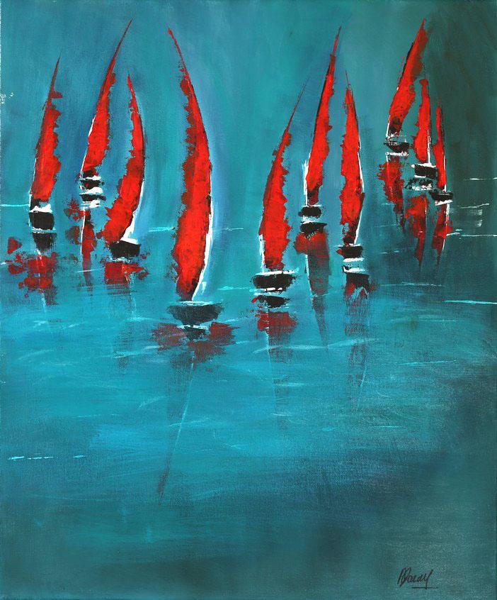 Les voiles rouges -50x61cm