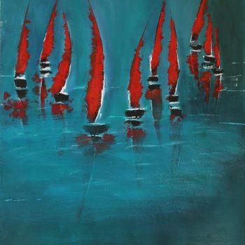 Les voiles rouges - 50x61cm
